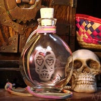 Day of the Dead Love Skull Flask