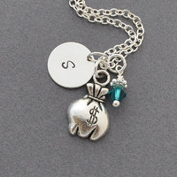 money bag necklace, Birthstone Initial Necklace, Monogram, money jewelry, silver money bag charm, personalized jewelry