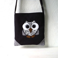 "Vegan Crossbody, Mini Messenger bag. Tote bag,Owl Applique ""Rocko"" black and grey linen. Ready To Ship."