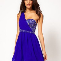 Little Mistress Jewelled Bustier One Shoulder Dress at asos.com
