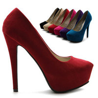 ollio Womens Platforms Faux-Suede Classic Pumps High Heels Multi Colored Shoes