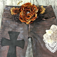 Womens distressed vintage jeans, country chic, gypsy cowgirl jeans, cottage chic, womens clothing, true rebel clothing