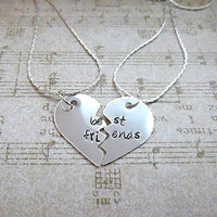 Best Friends Hand Stamped Broken Heart Necklace Set