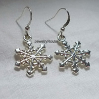 Bright Silver Metal Snowflakes Charms with Bright Silver Metal French Hook Earrings