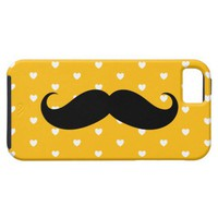 Yellow Mustache Hearts Patterned iPhone 5 Case from Zazzle.com