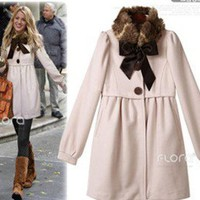 Hot Girl Fur Collar BOW Puff Sleeve Dress Parka Wool Blend Trench Coat/Jacket