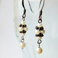 Timeless Dainty Beaded Cream Pearls Copper Earrings Women Ladies Gifts
