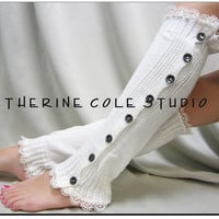 SALE Leg Warmer button down  lace edged cream for women great with or without boots by Catherine Cole Studio lace legwarmers