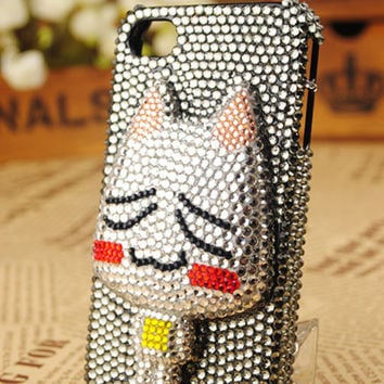 iPhone4 Cat Crystals Handmade Protective Shell Cover