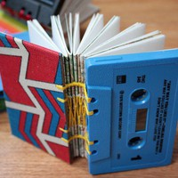 Upcycled Cassette Tape Book Red and Blue Chevron by somavenus