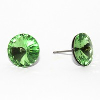 Peridot Swarovski Rivoli on a French Hypoallergenic Stainless Steel Post - by sew340 on madeit