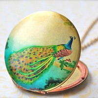 The Peacock on a Branch Art Locket  Vintage by verabel on Etsy