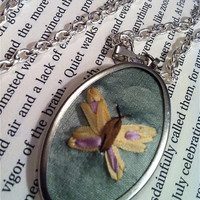 Hand Embroidered Butterfly Pendant Necklace  by BeanTownEmbroidery