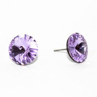 Violet Swarovski Rivoli on a French Hypoallergenic Stainless Steel Post - by sew340 on madeit