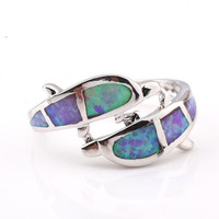 Special Blue Opal Platinum Plated Copper Ring at Online Jewelry Store Gofavor