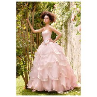 Pink Strapless Multi-Layer Satin Organza Wedding Gown - Star Bridal Apparel
