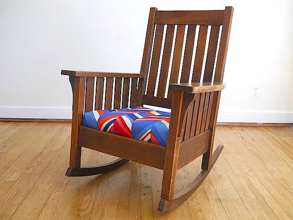 antique oak mission rocking chair from thenewtonlabel on etsy