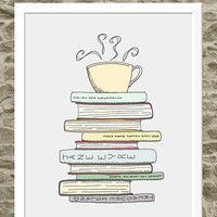 8x10 I Love Books & Tea Print - Kitchen Art Illustration - Books and Reading Book Art -  Teacup Print - Cafe Art Drawing - For Book Lover