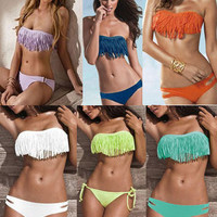 New Women Padded Boho Fringe Top Strapless 7 Colors 2pcs set Bikini Swimwear SML