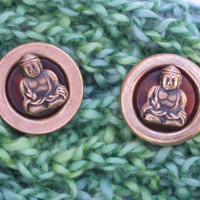 Vintage Brass and Amber Shank Buttons, Sitting Buddha, pair, 19mm, Yoga, New Age, upcycled jewelry