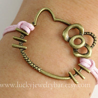 Hello Kitty Bracelet, antique bronze kitty bracelet, sweet gift