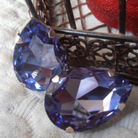 Tanzanite Swarovski crystal, Pear fancy cut, silver tone setting, vintage, dangle/drop fashion earrings