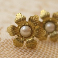 Flower and Pearl Stud Earrings by ClementinesJewelry on Etsy