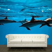 "Wall STICKER MURAL dolphins sea ocean underwater blue decole film poster fantasy 158x95""/4x2,4m"
