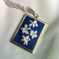 Embroidered Flower Pendant Beaded  Silk by BeanTownEmbroidery