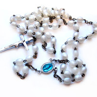 Vintage Rosary Necklace, Plastic Pearl Beads