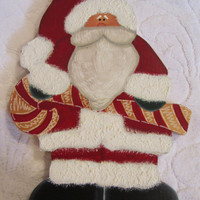 Christmas Santa Claus Standing Santa Claus with Candy Cane Shelf Mantle Sitter Wood Painted