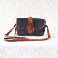 vintage dooney & bourke leather purse // handbag // brown and navy