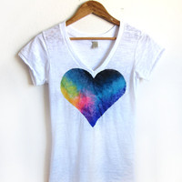 Splash Dyed Hand PAINTED Heart White Burnout Deep V Tee Shirt in Spectrum Rainbow - S M L XL 2XL