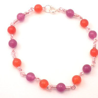 Jade and Quartzite Bracelet - Pink Wire Wrapped - Fuchsia and Orange