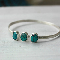 Sterling Silver Bracelet, hammered bangle - Turquoise native american navajo bracelet - sterling silver jewelry handmade