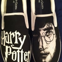Harry Potter Painted Men's Shoes Size 10 and 1/2 by Nickinverted