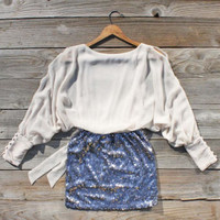 Sequined Autumn Dress in Cream, Sweet Women's Country Clothing