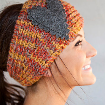 Knitted Headband Rust Brown Gray Medley Headband Knitted Headband With Felt Heart from BglorifiedBoutique