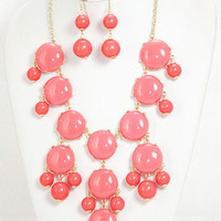 Me & My Crew Bauble Necklace in Pink - Coral -  $25.00 | Daily Chic Accessories | International Shipping