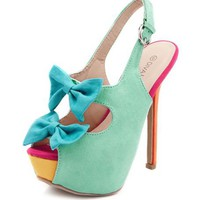 Sueded Double Bow Slingback Pump: Charlotte Russe