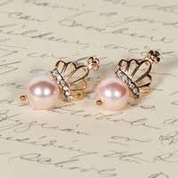 Subtle Royalty Crown Pearl Earrings in Gentle Pink | Sincerely Sweet Boutique
