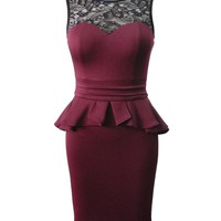 Bordeaux Sleeveless Peplum Dress with Lace Neckline