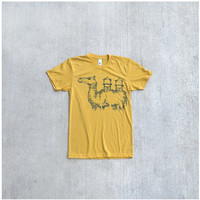 The Deserter - mens tshirt - urban camel screenprint on American Apparel heather gold t shirt - gift for him - S/M/L/XL
