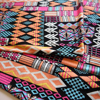 Tribal Fabric, Neon Geometric Aztec Fabric, Stretchy Cotton, 39 in x 60 in