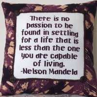 Cross Stitch Pillow Inspirational Quote, Purple Pillow, Nelson Mandela Quote