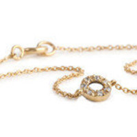"KARA ACKERMAN ? ""New"" Kara Ackerman <i> Audrey <i/> 14k Yellow Gold Diamond Open Circle Bracelet"