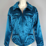 CHICOS Blue METALLIC SHIMMER Motorcycle Biker Style JACKET sz 1, 8-10, S-M