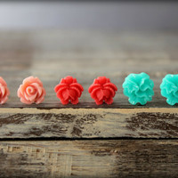 Flower Earring Studs Trio: Vintage Pink Rose, Raspberry Ruffled Rose, Turquoise Ribbon Flower