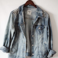 Bad Girls Club  Bleached Studded Denim Jacket