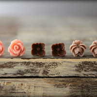 Flower Earring Studs Trio: Vintage Pink Rose, Chocolate Sakura, Redwood Rose Bud